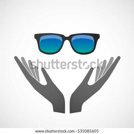 Illustration of an isolated hands offering sign with  a sunglasses icon