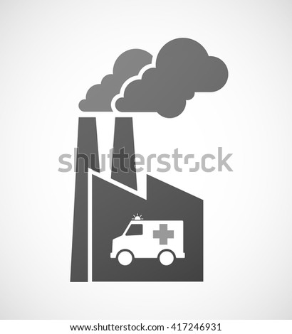 Illustration of an isolated industrial factory icon with  an ambulance icon
