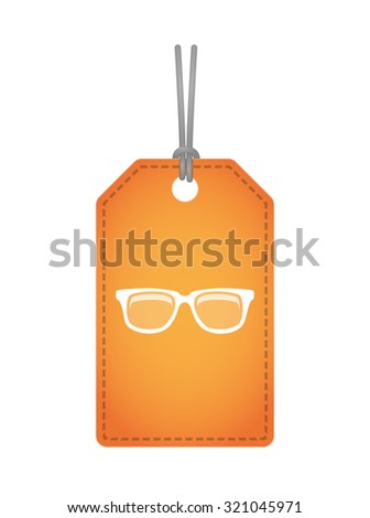 Illustration of an isolated label icon with a glasses - stock vector