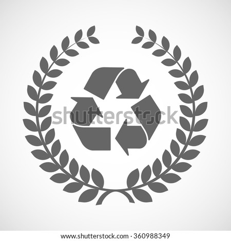 Illustration of an isolated laurel wreath icon with a recycle sign - stock vector