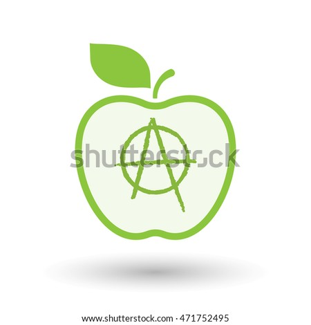 Illustration of an isolated  line art apple icon with an anarchy sign