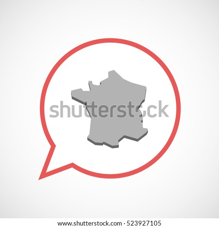 Illustration of an isolated line art comic balloon with  the map of France