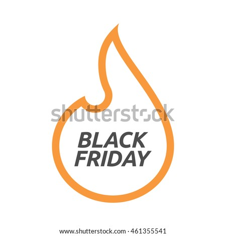 Illustration of an isolated line art flame with    the text BLACK FRIDAY