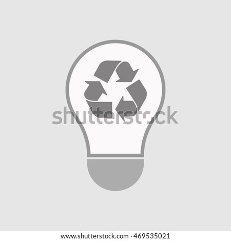 Illustration of an isolated line art  light bulb icon with a recycle sign
