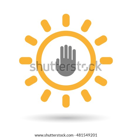 Illustration of an isolated  line art sun icon with a hand