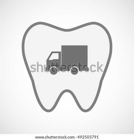 Illustration of an isolated  line art tooth icon with a  delivery truck