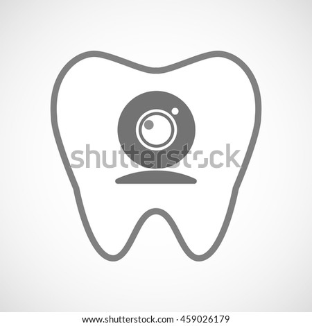 Illustration of an isolated line art tooth icon with a web cam