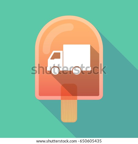 Illustration of an isolated long shadow ice cream with a  delivery truck