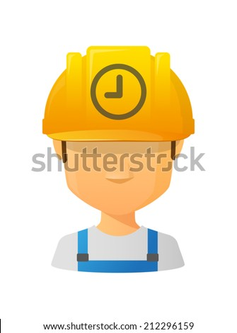 Illustration of an isolated male avatar with a clock - stock vector