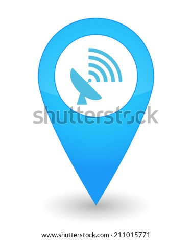 Illustration of an isolated map mark with an antenna  icon - stock vector