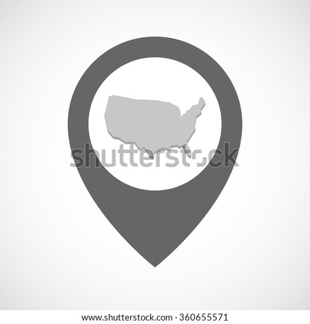 Illustration of an isolated map marker with  a map of the USA - stock vector