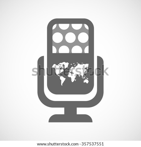 Illustration of an isolated microphone icon with a world map - stock vector