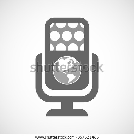 Illustration of an isolated microphone icon with an America region world globe - stock vector