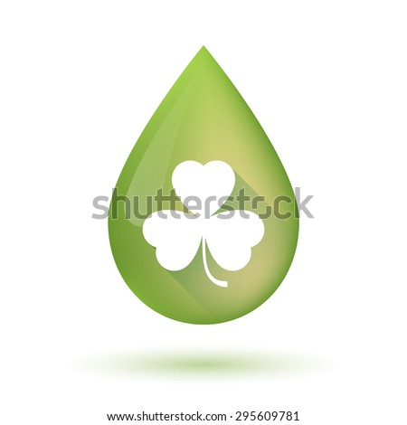 Illustration of an isolated olive oil drop icon with a clover