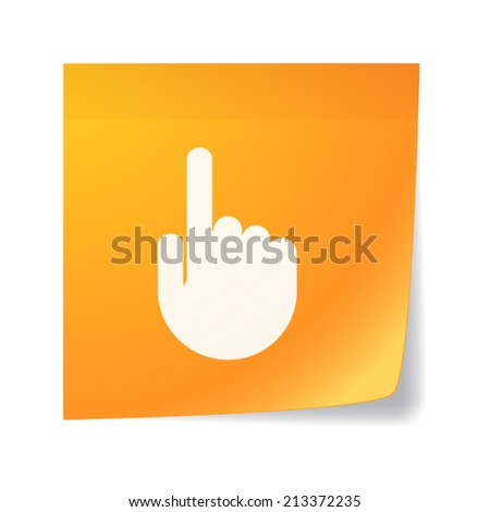 Illustration of an isolated orange sticky note with a hand - stock vector