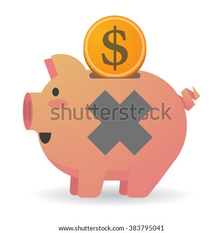 Illustration of an isolated piggy bank with an irritating substance sign - stock vector