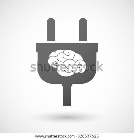 Illustration of an isolated plug icon with a brain - stock vector