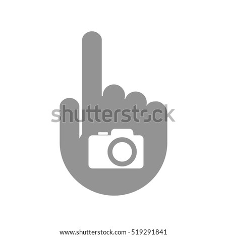 Illustration of an isolated pointing hand icon with a photo camera