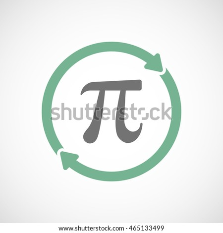 Illustration of an isolated  reuse icon with the number pi symbol