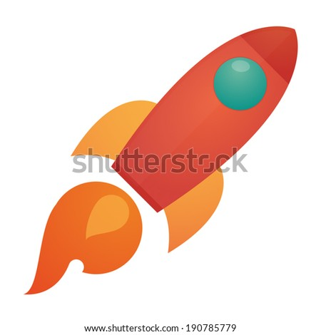 Illustration of an isolated rocket icon - stock vector