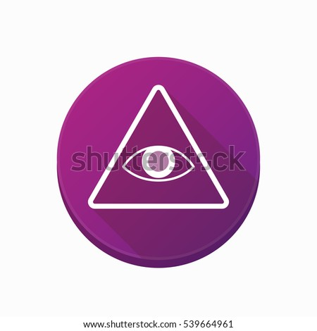 Illustration of an isolated rounded button with an all seeing eye