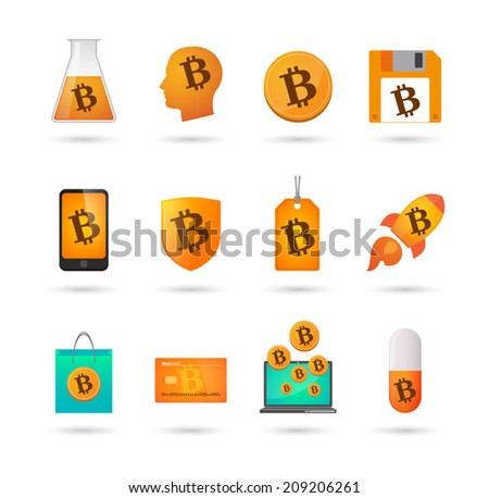 Illustration of an isolated set of bitcoin related icons - stock vector