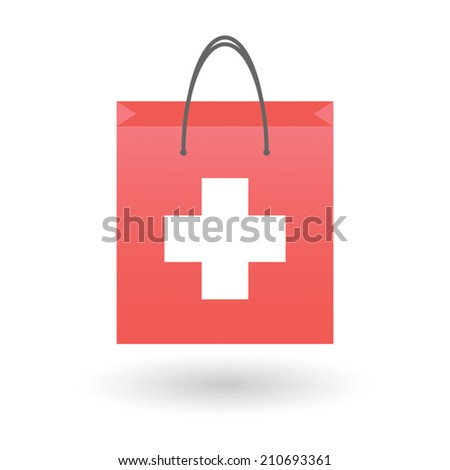 Illustration of an isolated shopping bag with a swiss flag - stock vector