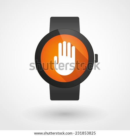 Illustration of an isolated smart watch displaying a hand - stock vector
