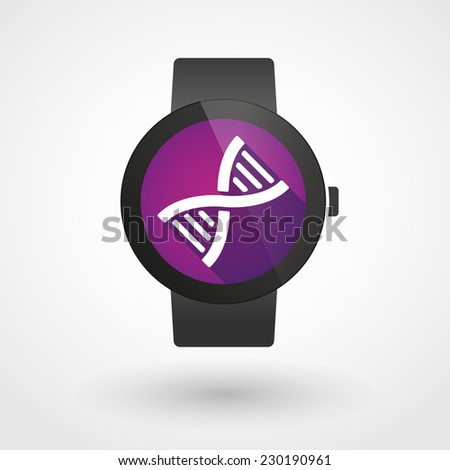 Illustration of an isolated smart watch icon with a DNA sign - stock vector