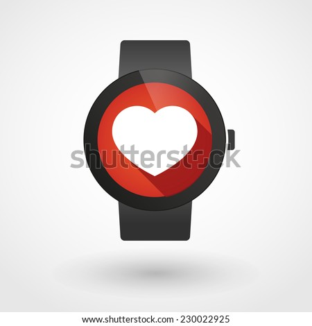 Illustration of an isolated smart watch icon with a heart - stock vector