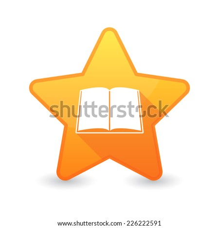 Illustration of an isolated star icon with a book - stock vector