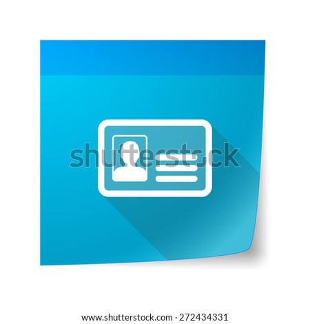Illustration of an isolated sticky note icon with an id card - stock vector