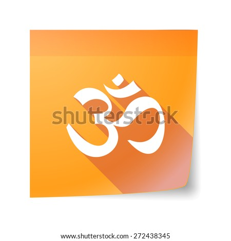 Illustration of an isolated sticky note icon with an om sign - stock vector