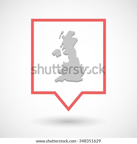 Illustration of an isolated tooltip line art icon with  a map of the UK  - stock vector