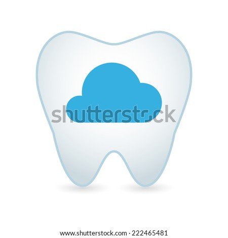 Illustration of an isolated tooth icon with a cloud - stock vector