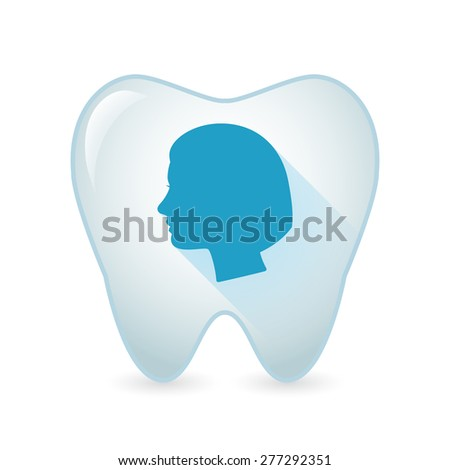 Illustration of an isolated tooth icon with a female head