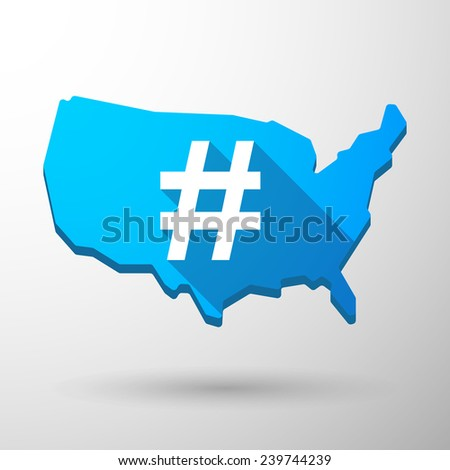 Illustration of an isolated USA map icon with a hash tag - stock vector
