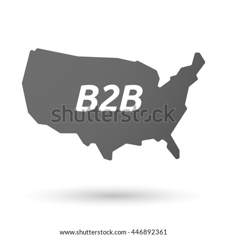 Illustration of an isolated USA map icon with    the text B2B - stock vector
