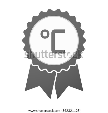 Illustration of an isolated vector badge icon with  a celsius degree sign