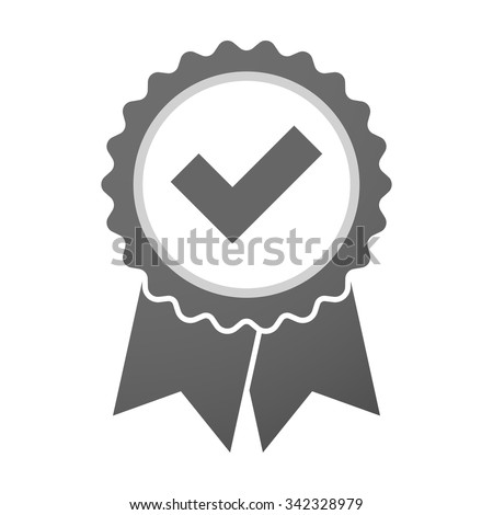 Illustration of an isolated vector badge icon with a check mark - stock vector
