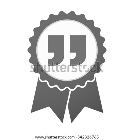 Illustration of an isolated vector badge icon with  quotes