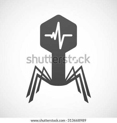 Illustration of an isolated virus icon with a heart beat sign - stock vector
