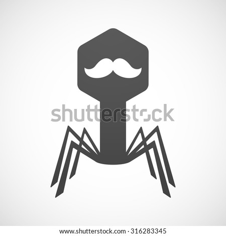 Illustration of an isolated virus icon with a moustache - stock vector