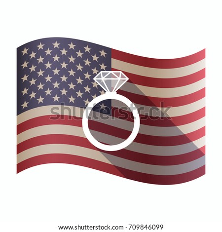 Illustration of an isolated waving United States of America flg with an engagement ring