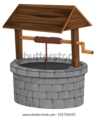 Illustration of an isolated well - stock vector