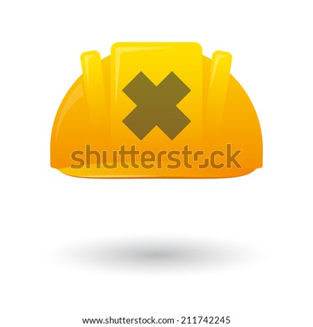 Illustration of an isolated work helmet wit an irritating substance sign - stock vector