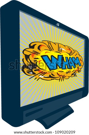 Illustration of an LCD Plasma television TV set on isolated white background with cartoon style explosion and text word wham. - stock vector