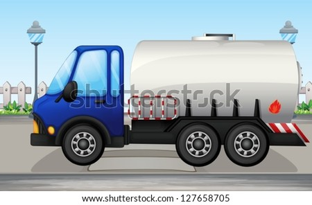 Illustration of an oil tanker - stock vector