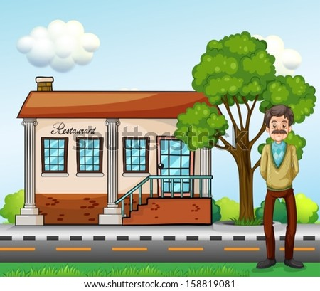 Illustration of an old businessman standing in front of the restaurant - stock vector