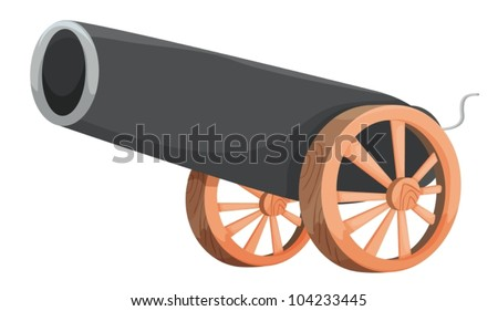 Illustration of an old cannon - stock vector